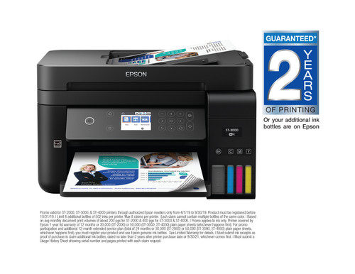 Epson WorkForce ST-3000 Colour MFP Supertank Printer (No Fax) (C11CG20202)