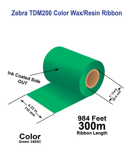 """Zebra 4.33"""" x 984 feet GREEN 3405C TDM200 Wax/Resin Colour Ribbon with Ink OUT"""