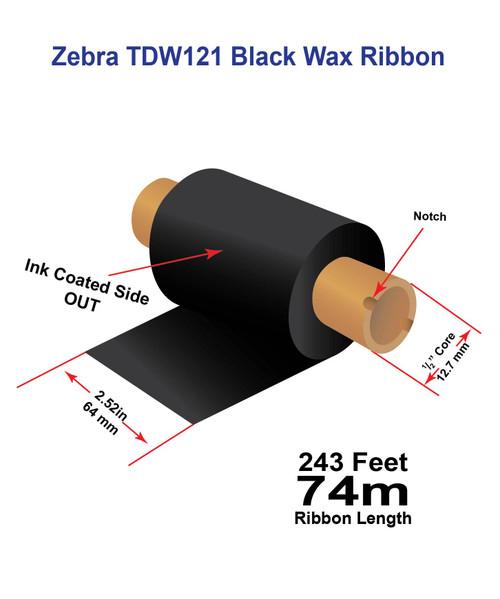 "Zebra Eltron 2844 2.52"" x 243 feet TDW121 Wax-Resin Enhanced Ribbon with Ink OUT | 12/Ctn"