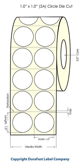 "Primera LX900 1"" Circle (2 Across) High Gloss Label Roll"