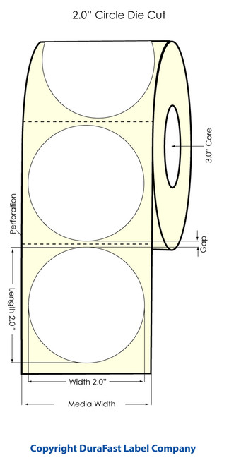 "Primera LX900 2"" Circle High Gloss Label Roll"