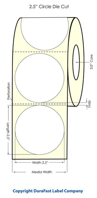 "Primera LX900 2.5"" Circle High Gloss Label Roll"