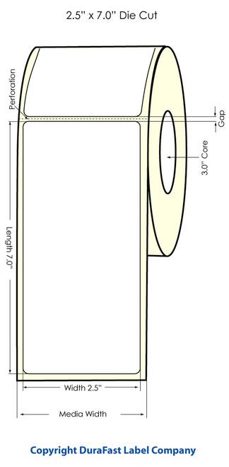 """Primera LX900 2.5"""" x 7"""" High Gloss Label Roll"""