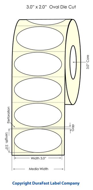 """Primera LX900 3"""" x 2"""" OVAL High Gloss Label Roll"""
