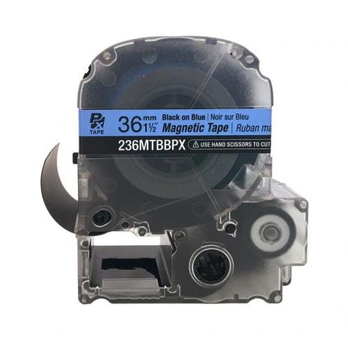 "Epson/K-SUN 236MTBBPX-4.9 BLK ON BLU PX Label Tape 1-1/2""/36MM Magnet Tape"