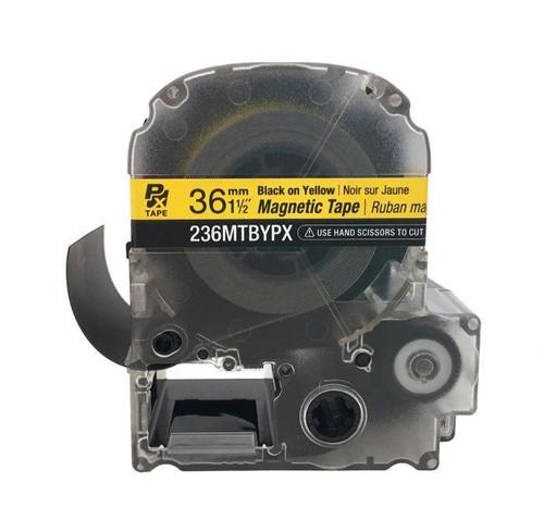 "Epson/K-SUN 236MTBYPX-4.9 BLK ON YLW PX Label Tape 1-1/2""/36MM Magnet Tape"