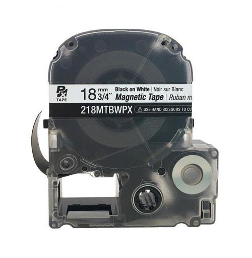 "Epson/K-SUN 218MTBWPX-4.9 BLK ON WHT PX Label Tape 3/4""/18MM Magnet Tape"
