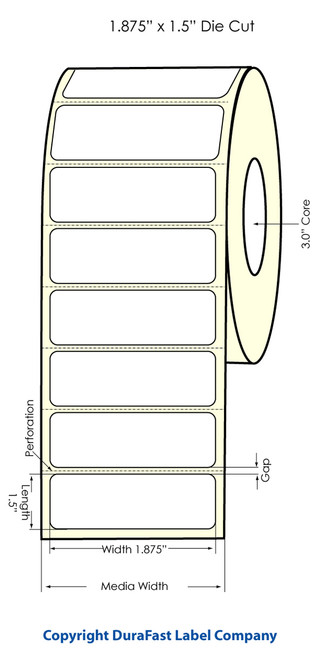 """Primera LX900 1.875"""" x 1.5"""" High Gloss Label Roll"""