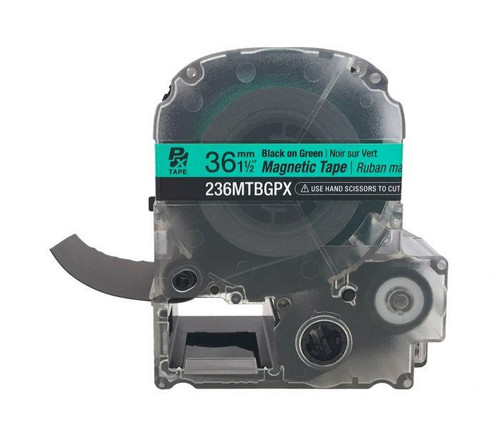 "Epson/K-SUN 236MTBGPX-4.9 BLK ON GRN PX Label Tape 1-1/2""/36MM Magnet Tape"