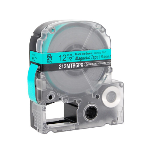"Epson/K-SUN 212MTBGPX-4.9 BLK ON GRN PX Label Tape 1/2""/12MM Magnet Tape"