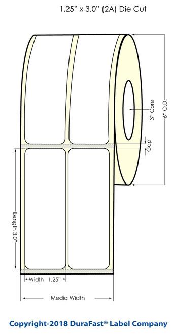 "LX900 1.25"" x 3"" NP Glossy BOPP Labels 1600/Roll (934024)"