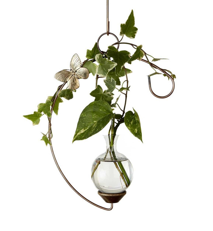Crescent Hanging Plant Rooter Vase with Plants