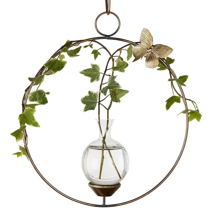 Round Hanging Plant Rooter Vase With Ivy Plant