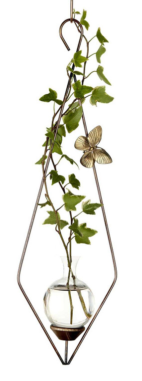 Diamond Hanging Plant Rooter Vase with Plants
