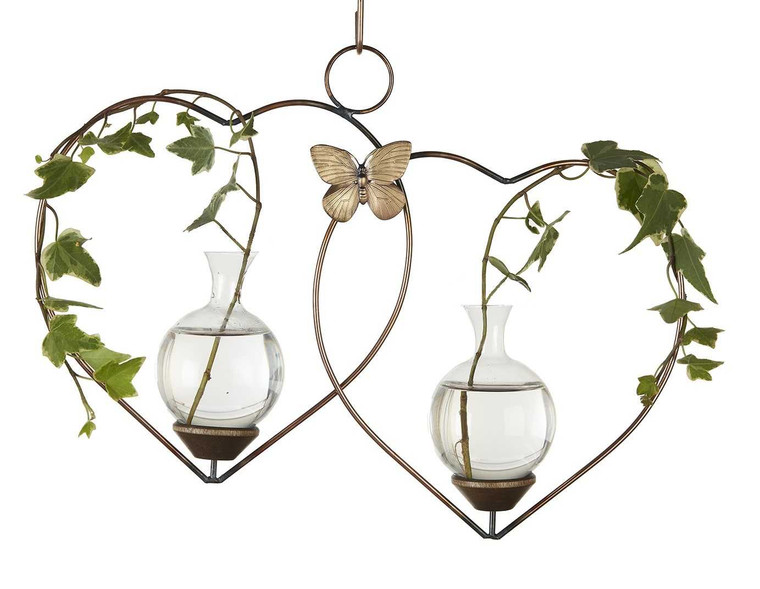 Double Heart Hanging Plant Rooter Vase With Plant