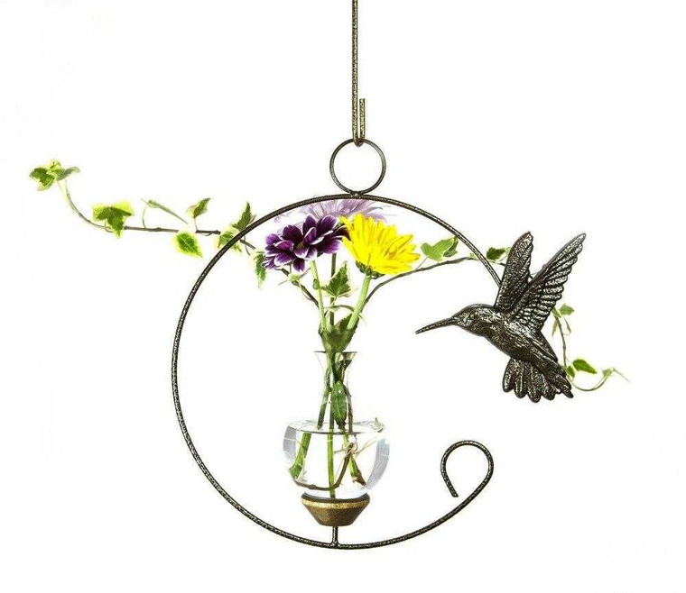 Hummingbird Crescent Hanging Plant Rooter Vase With Plant And Flowers