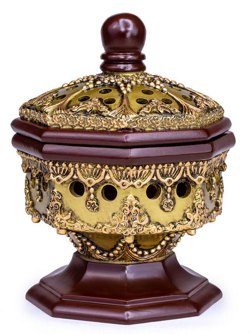 Luxury Charcoal Incense burner - AttarMist.co.uk Octagon Bronze