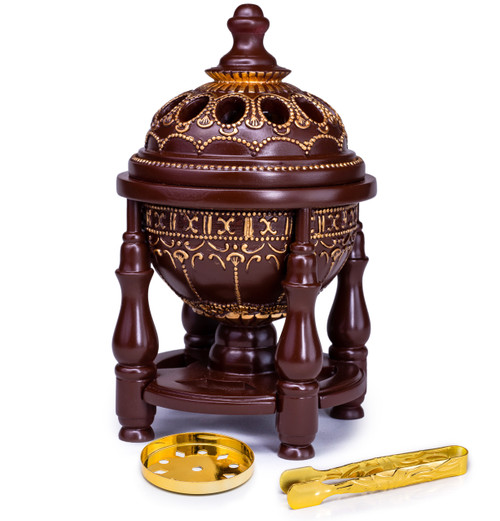 Gorgeous Luxury Brown Pillar Charcoal Incense Burner in Brown - Available at AttarMist.co.uk