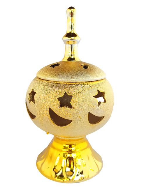 Gold Incense Burner Bakhoor Burner - www.AttarMist.co.uk