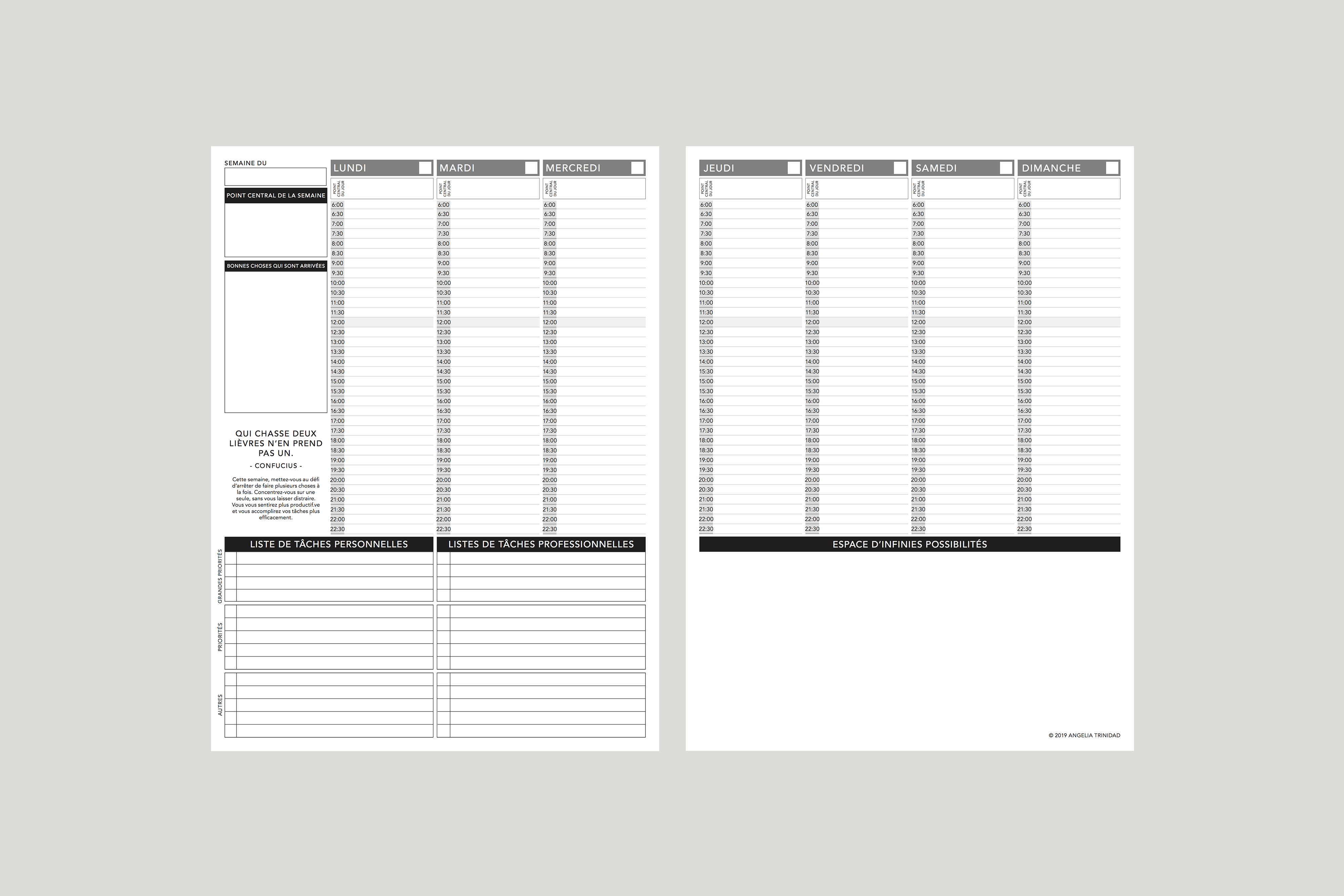 photo regarding Planner Pdf known as French Undated