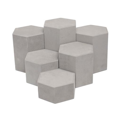 Suede Hexagon Riser Set - 6 Piece