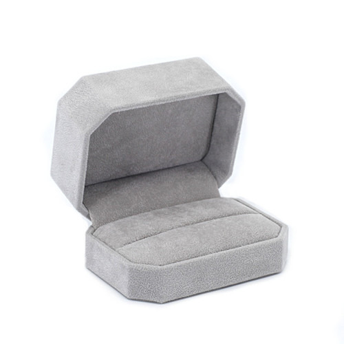 Octagonal Suede Double Ring Box