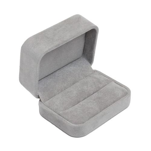 Round Corner Suede Double Ring Box
