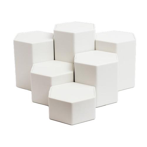 Leatherette Hexagon Riser Set - 6 Piece