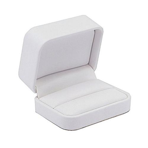 Round Corner Leatherette Double Ring Box