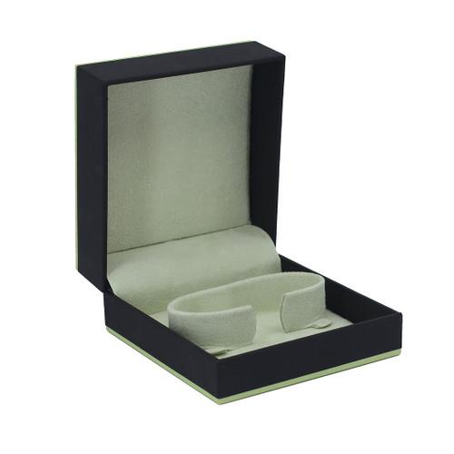 Leatherette Paper Bangle Box w/ Accent Color Trim
