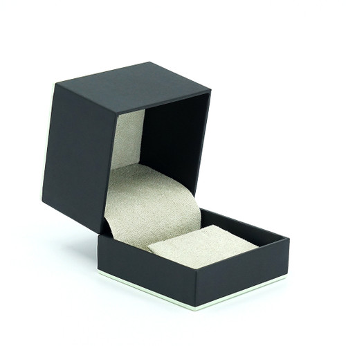 Leatherette Paper Earring Box w/ Accent Color Trim