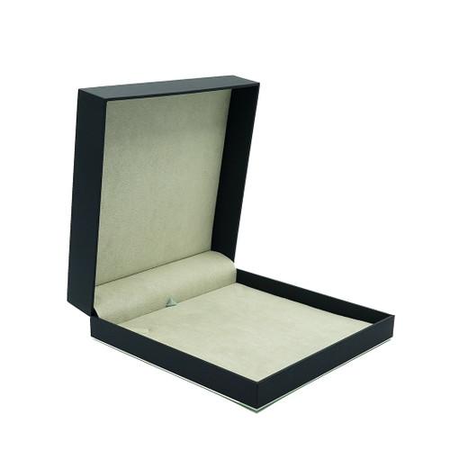 Leatherette Paper Large Necklace Box w/ Accent Color Trim