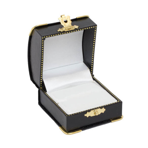 Single Ring Box w/ Gilt Corners/Clap Closure