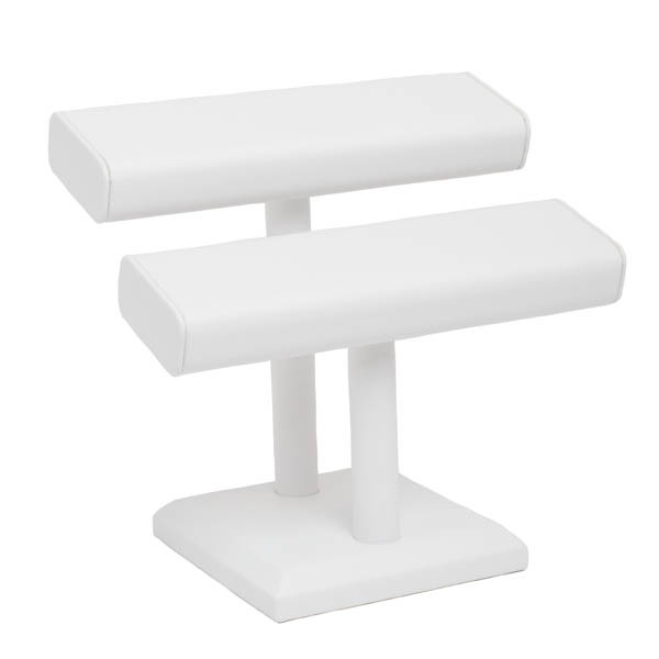 Leatherette Squared Double T-Bar Bracelet/Bangle Stand