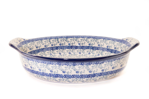Round Oven Dish With Handles (Forget Me Not)