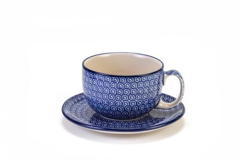 Latte Cup & Saucer (Blue Doodle)