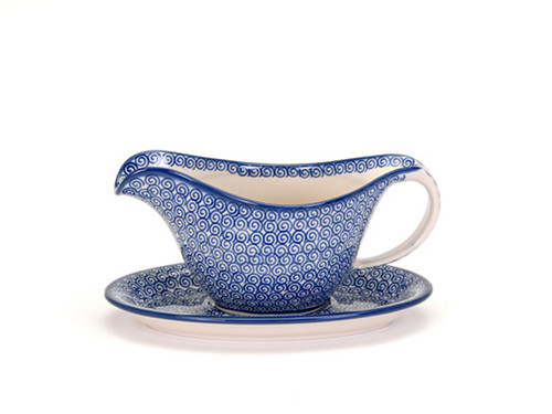 Gravy Boat with Saucer (Blue Doodle)