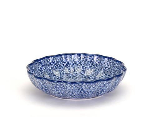Frilled Dish (large) (Blue Doodle)