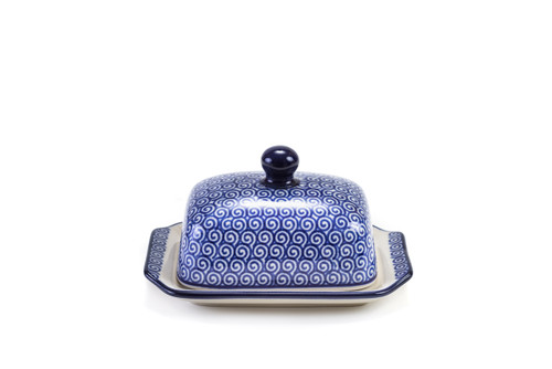 Half Butter Dish (Blue Doodle)