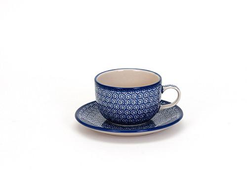 Tea Cup & Saucer (Blue Doodle)