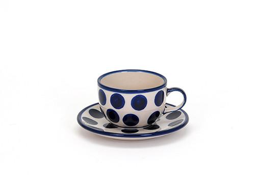 Tea Cup & Saucer (Polka Dot)