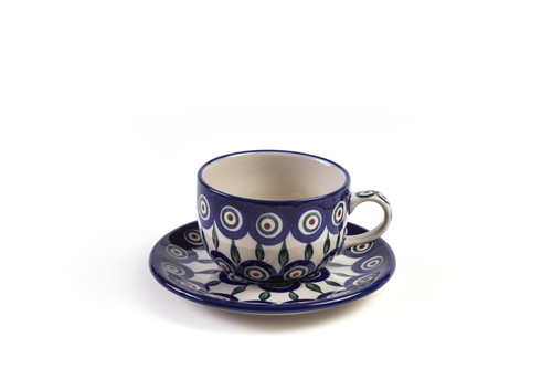 Tea Cup & Saucer (Peacock Eyes)