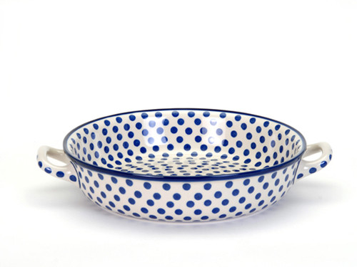 Oven Dish with Handles (large) (Small Blue Dot)
