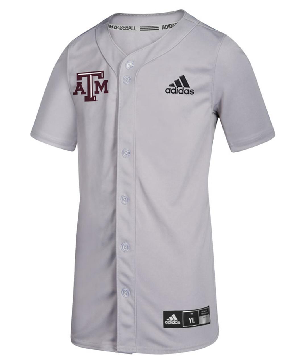 Adidas Youth Grey Diamond King Elite Full Button Baseball Jersey