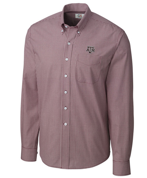 Cutter & Buck Men's Maroon Epic Easy Care Gingham Long Sleeve Button Down