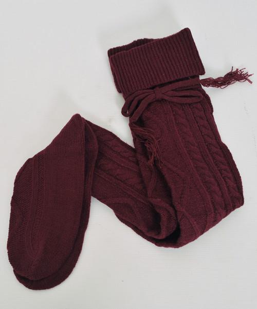 Maroon Thigh High Boot Socks