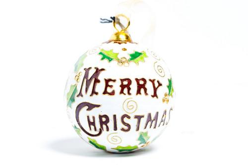 Kitty Keller White Merry Christmas Ornament