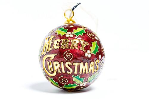 Kitty Keller Maroon Merry Christmas Ornament