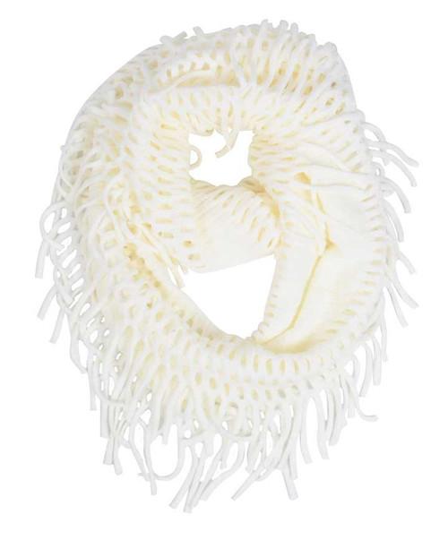 Ivory Fringe Infinity Scarf