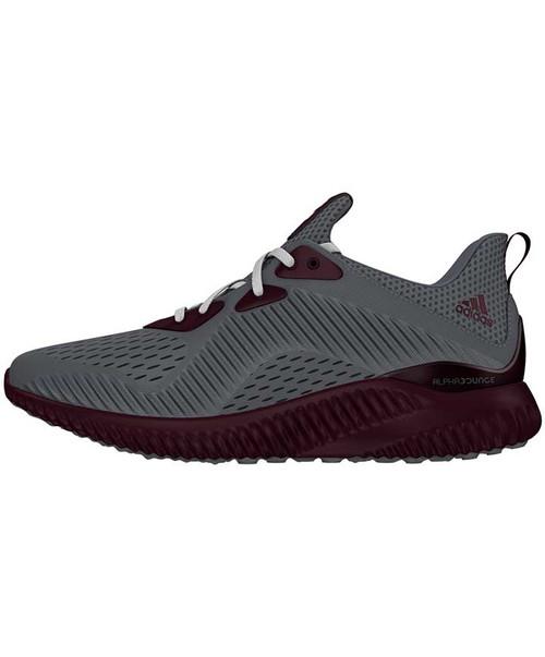 Adidas Maroon & Grey Custom Alpha Bounce Shoes